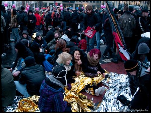Dresden, minus 5 Grad, die Blockade sitzt ....